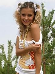 Petite teen with big nipples strips