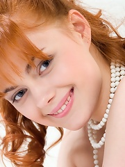 Sweet and innocent, Amys pink puffy breasts and untrimmed bush are precious like delicate pearls.