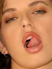 Sweet Ashton Gray slides off her yellow panties revealing her fresh pink pussy