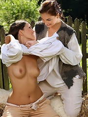 Deny and Billy - Hot farm girls have sex on haystack